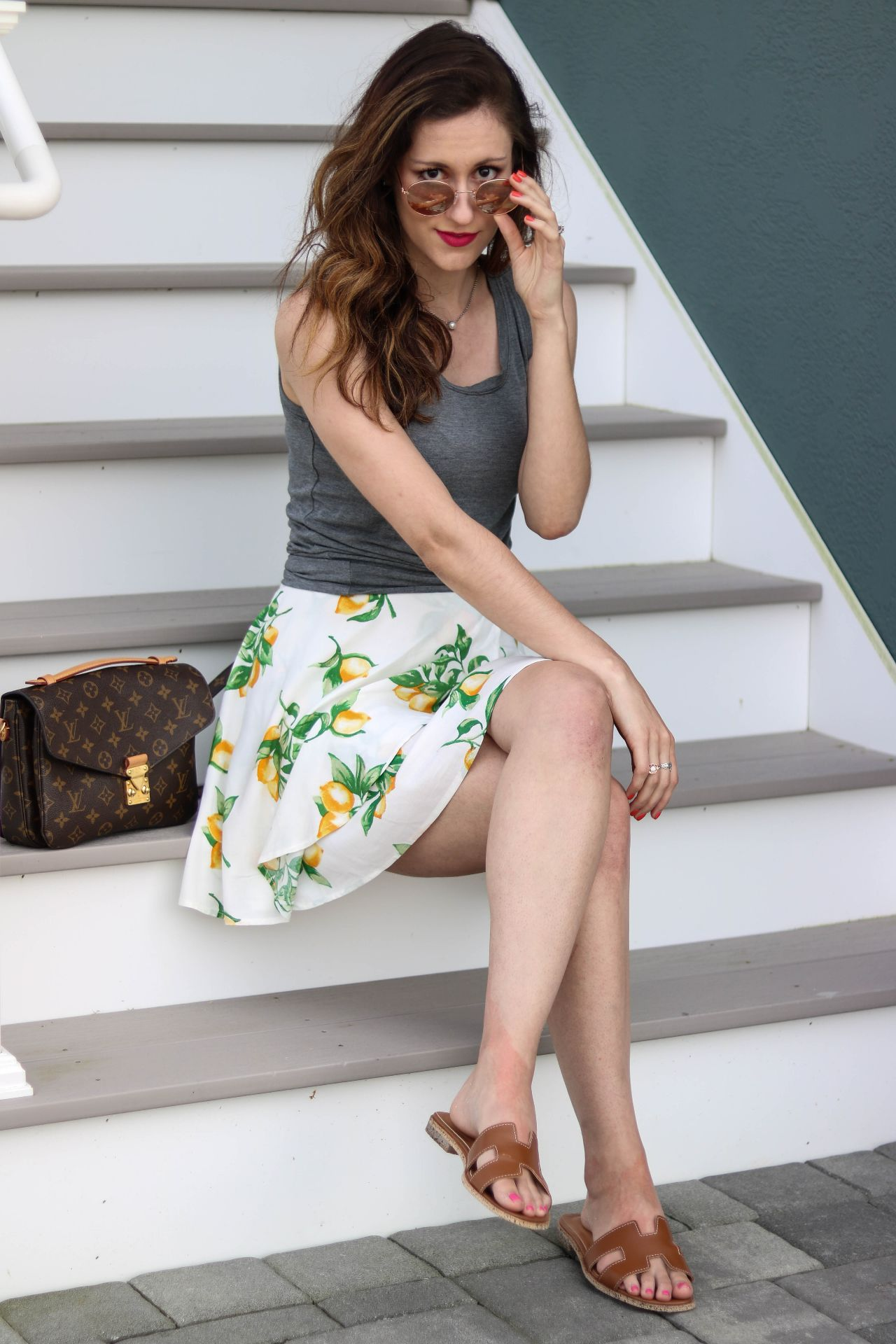 Feelin' fruity in this $20 lemon skirt, as seen on Philadelphia style blogger, Erica of Coming Up Roses. See how she styled it and shop the lemon skirt while shopping other fruit-themed pieces for summer!