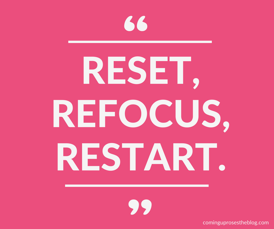 """""""Reset, Refocus, Restart."""" - Monday Mantra on hitting the reset button, on Coming Up Roses"""