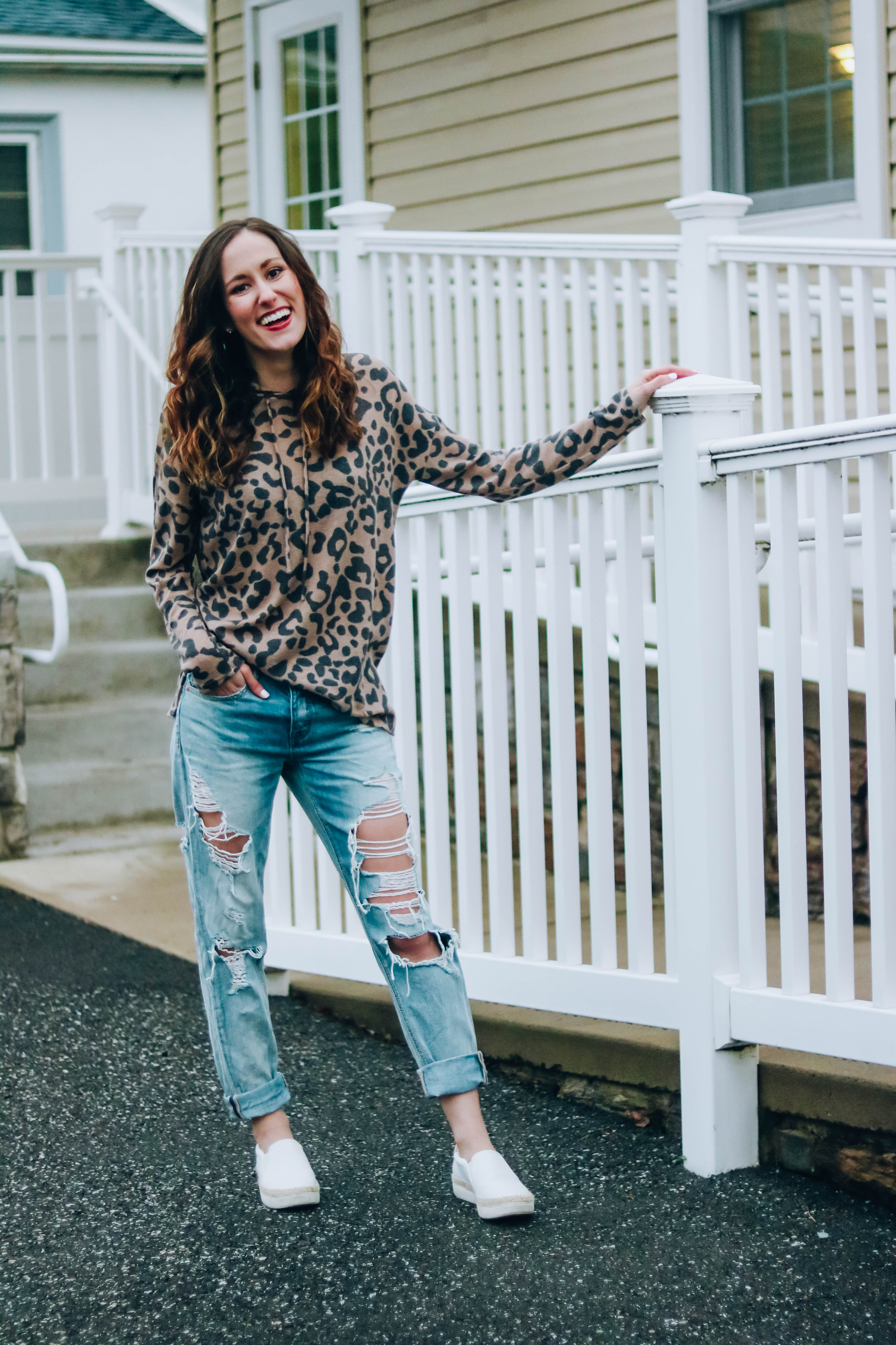 My New Mom Uniform - Leopard print hoodie, distressed boyfriend jeans, and the Pink Lily Boutique on Coming Up Roses