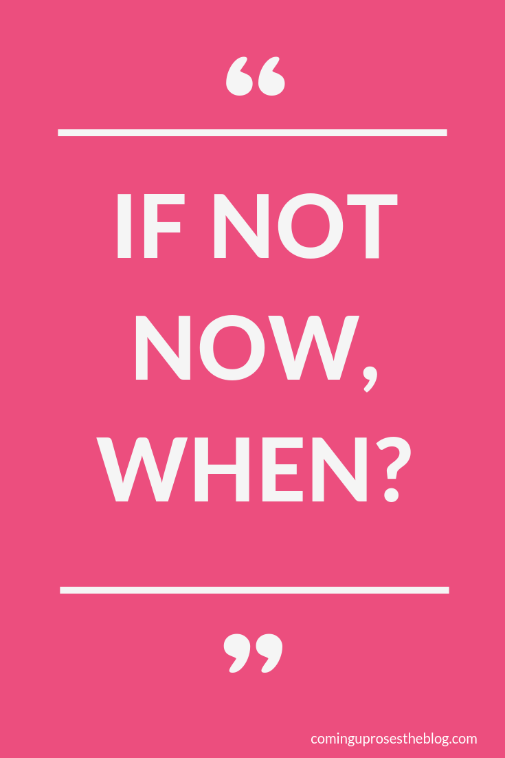 """""""If not now, WHEN?"""" - Monday Mantra on Coming Up Roses"""