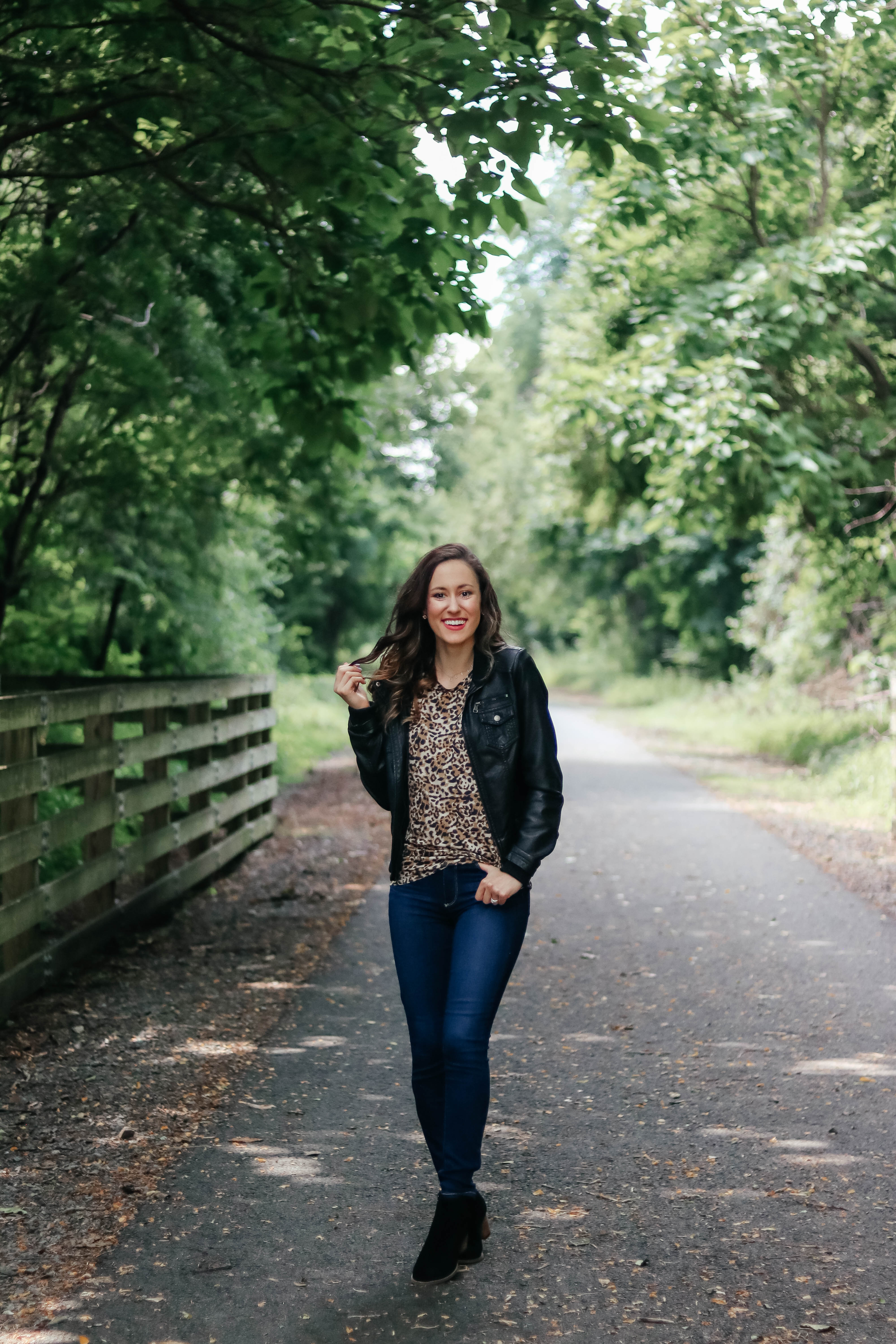 This leopard t-shirt is styled THREE ways on Coming Up Roses! Get leopard tee outfit ideas for fall and beyond in this blog post. And, it's ON SALE!