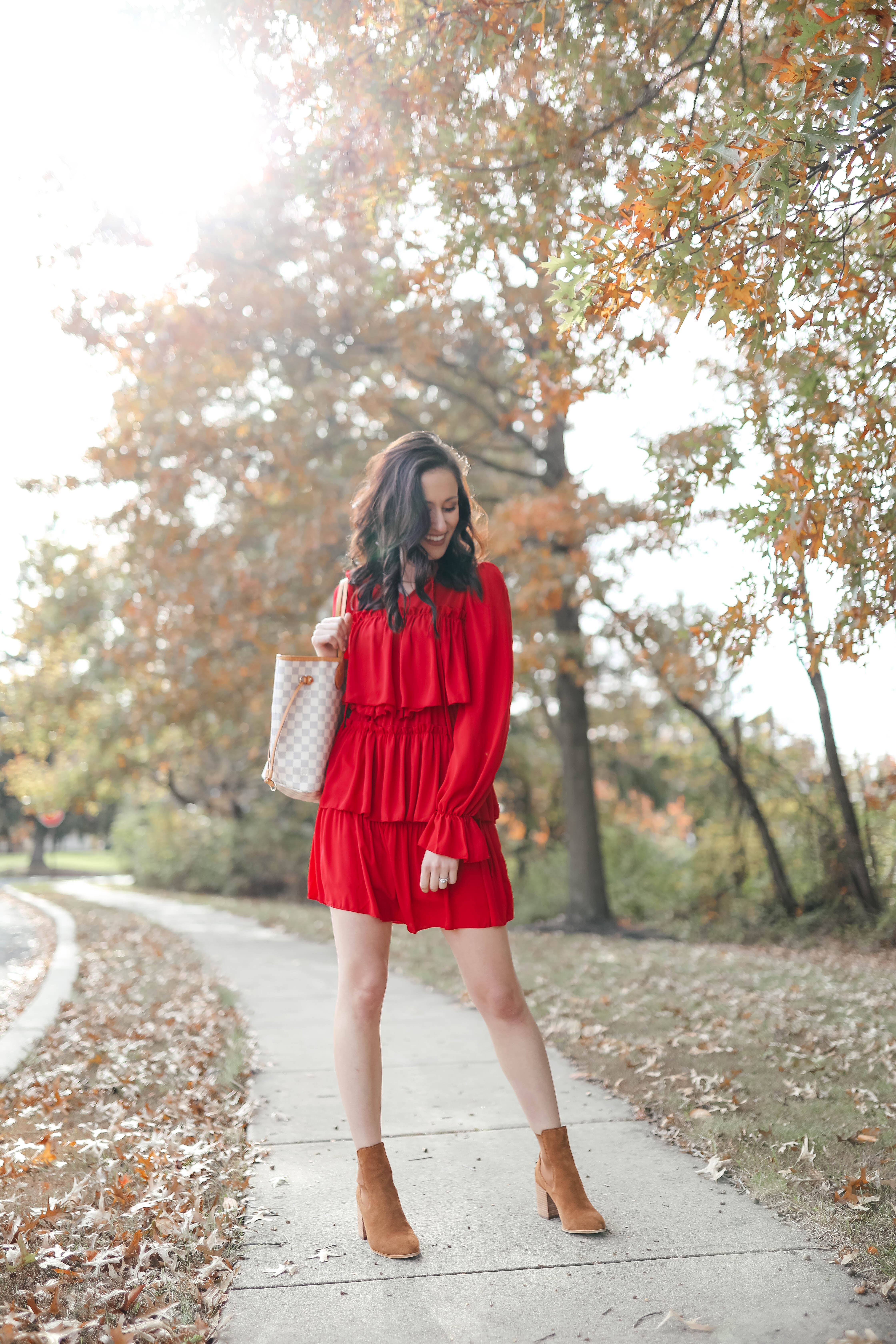 $21 Red Ruffle Dress - the Perfect Thanksgiving Outfit and Easy Holiday Dress on Coming Up Roses!