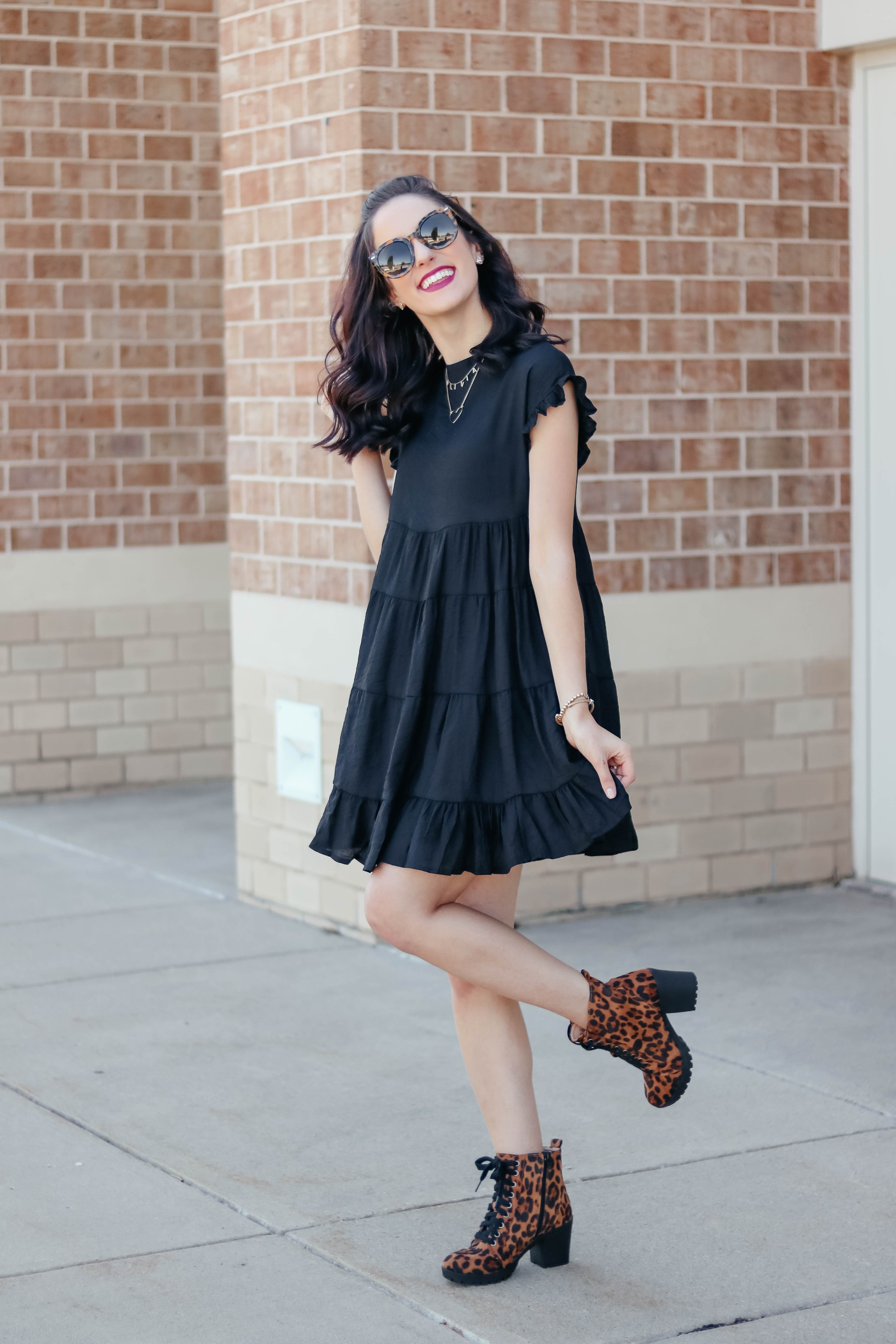 Tiered black dress on Coming Up Roses
