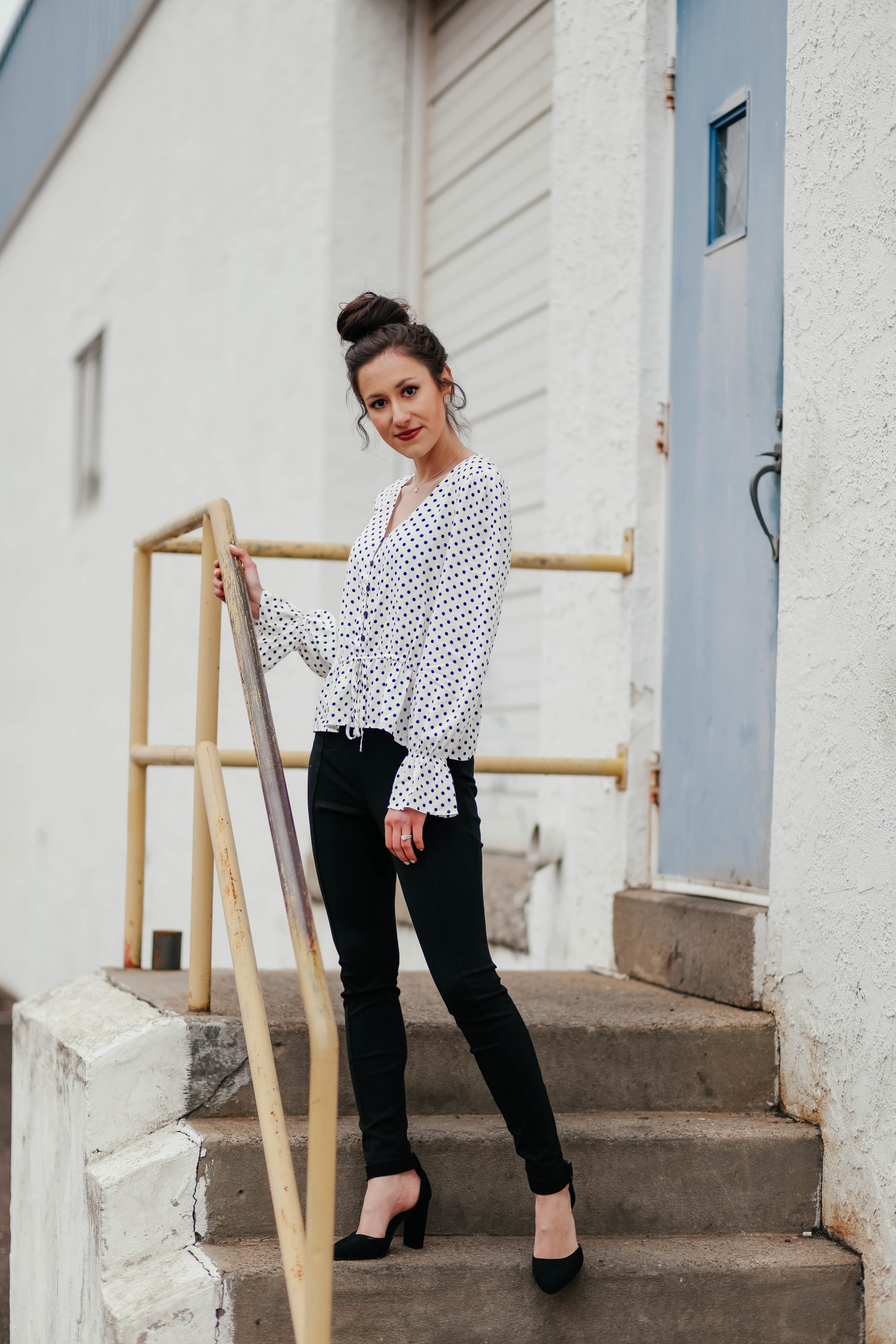 From Desk to Drinks: Polka Dot Blouse + Ponte Pants - Affordable Workwear on Coming Up Roses (UNDER $30 OUTFIT!!!)